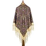 Шиповник 1883-2, павлопосадский платок шерстяной (двуниточная шерсть) с шелковой вязаной бахромой, фото 2