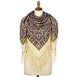 Шиповник 1883-2, павлопосадский платок шерстяной (двуниточная шерсть) с шелковой вязаной бахромой, фото 3