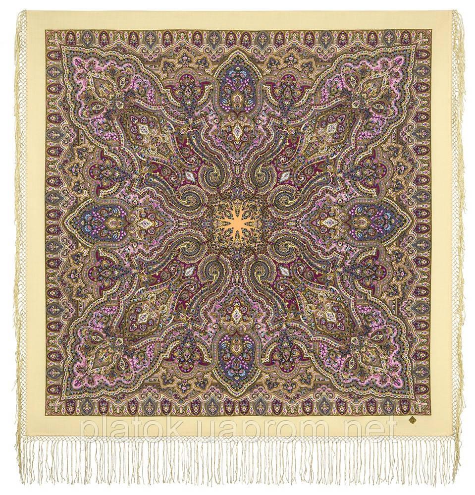 Шиповник 1883-2, павлопосадский платок шерстяной (двуниточная шерсть) с шелковой вязаной бахромой