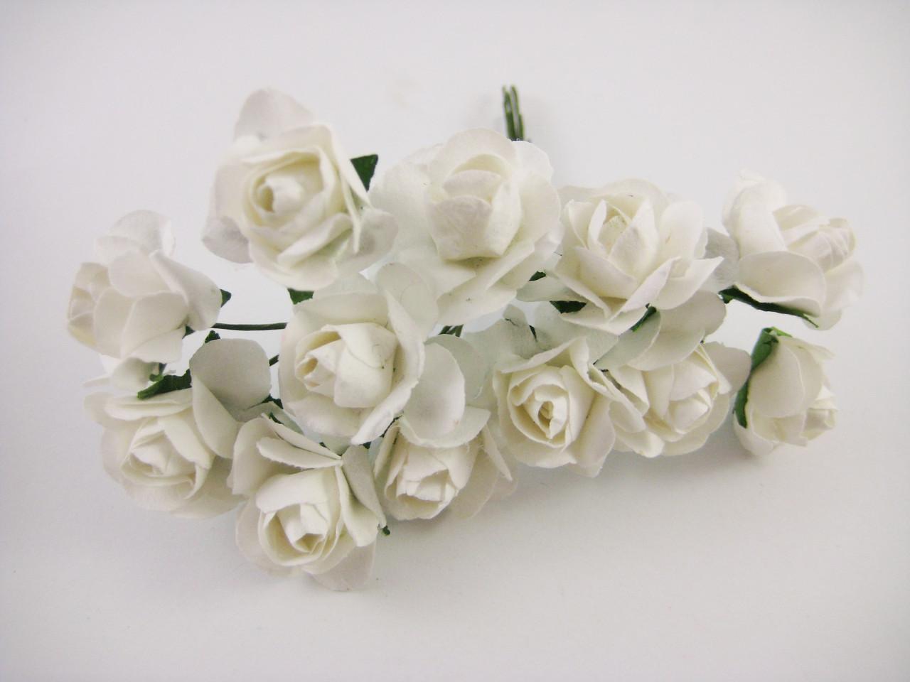 Роза Белая с проволокой 12шт/пучок