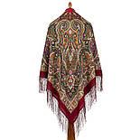 Шиповник 1883-6, павлопосадский платок шерстяной (двуниточная шерсть) с шелковой вязаной бахромой, фото 2