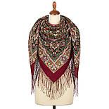 Шиповник 1883-6, павлопосадский платок шерстяной (двуниточная шерсть) с шелковой вязаной бахромой, фото 3