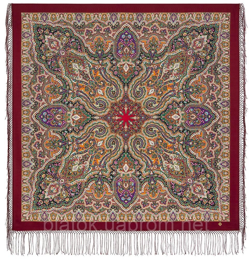 Шиповник 1883-6, павлопосадский платок шерстяной (двуниточная шерсть) с шелковой вязаной бахромой