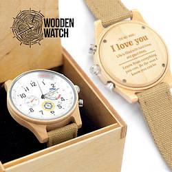 Деревянные наручные часы ручной работы WoodenWatch Comandor подарок с индивидуальной гравировкой