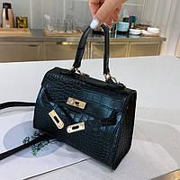 Маленькая женская сумка Kelly Reptile черная, фото 1