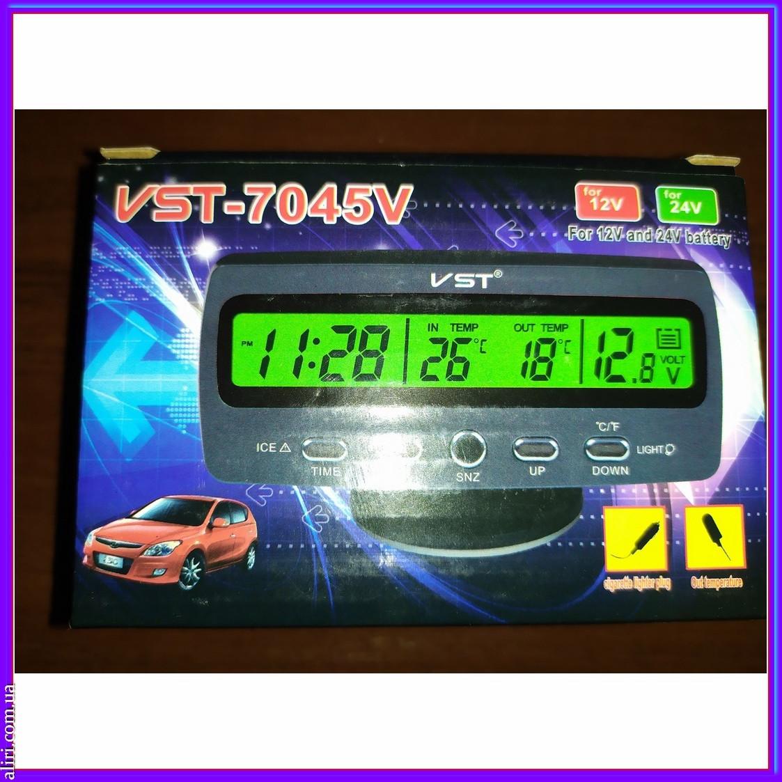 Автомобільні годинник термометр, вольтметр VST 7045V 12\24
