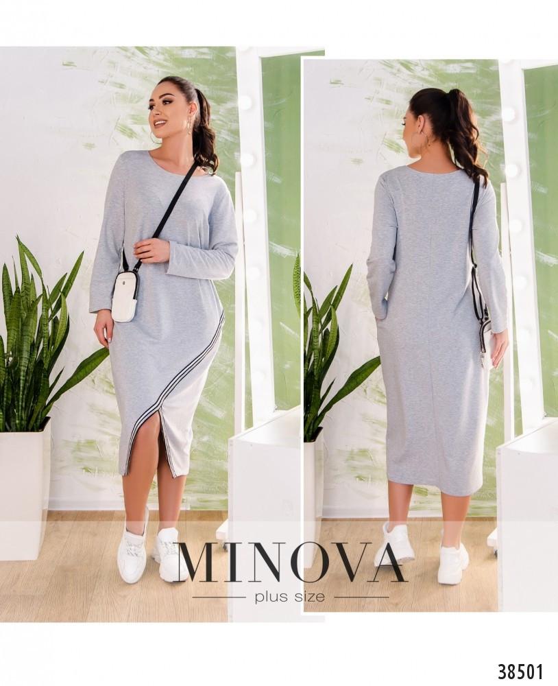 Платье женское большой размер №809-серый  50-52 54-56 58-60 62-64