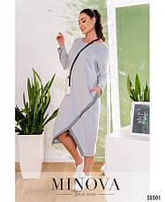 Платье женское большой размер №809-серый  50-52 54-56 58-60 62-64, фото 2