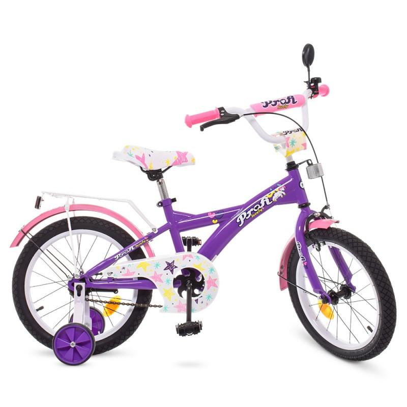 Детский двухколесный велосипед для девочки PROFI 18 дюймов, цвет розовый с фиолетовым, T1863 Original girl