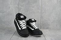 Подростковые кеды кожаные зимние черные-белые CrosSAV z 118