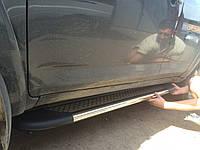 Toyota Rav 4 2006-2013 гг. Боковые площадки Maydos (2 шт., алюминий + нерж)