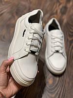 Кеды мужские кожаные белые, размеры 40-45