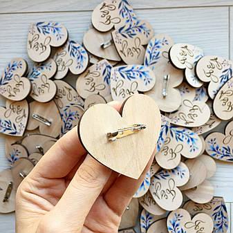 Деревянные свадебные бутоньерки с индивидуальной гравировкой, фото 2