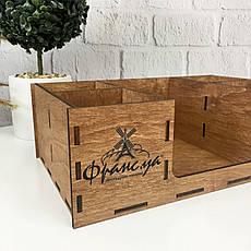 Настольный органайзер из дерева с логотипом на заказ, фото 3