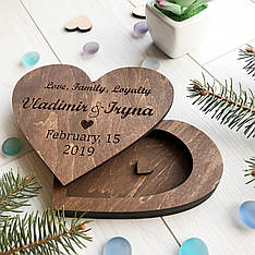 Свадебная деревянная коробочка для колец с индивидуальной гравировкой