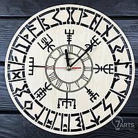 Оригинальные настенные часы из дерева «Викинги»