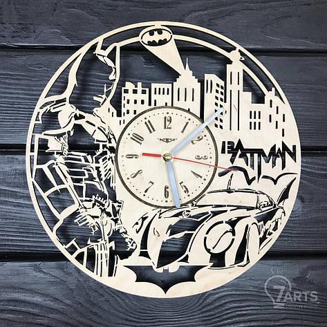 """Настенные часы из дерева с плавным ходом """"Бэтмен"""", фото 2"""