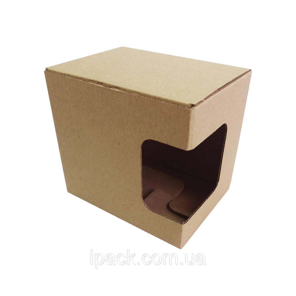 Коробка картонная самосборная с окошком 120*90*110 мм бурая крафт микрогофрокартон