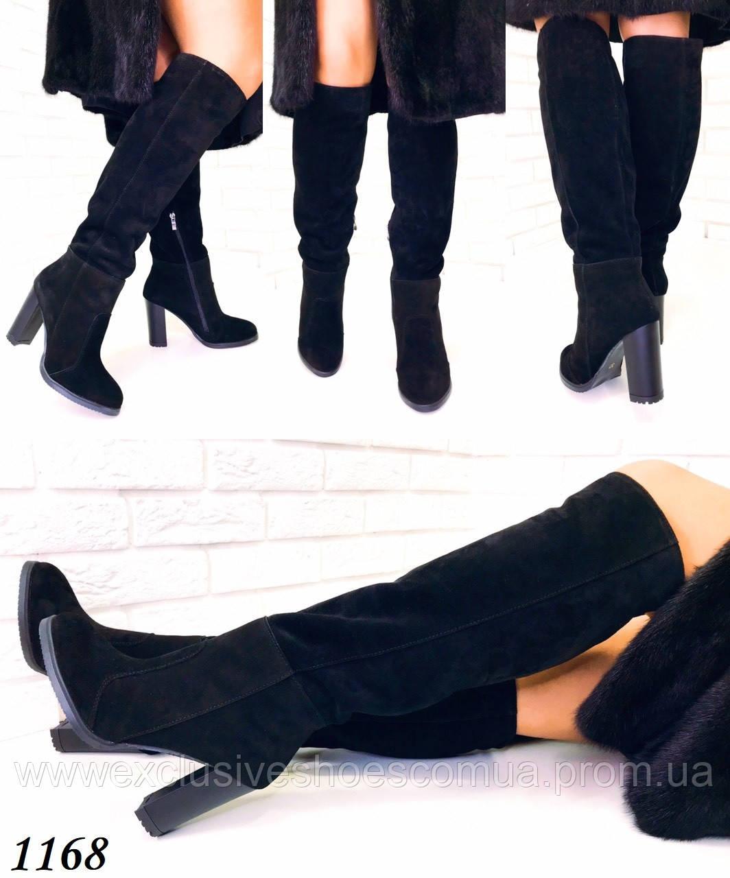 Ботфорты женские зимние замшевые черные на каблуке