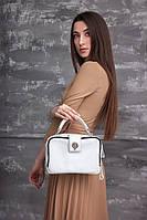 Белая маленькая сумка М267 женская через плечо кожаная, фото 1