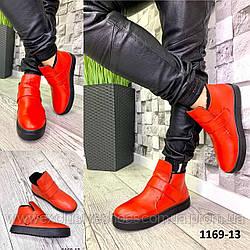 Хайтопы женские кожаные красные зимние на липучке