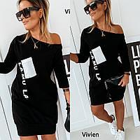 Платье туника, женское, повседневное, короткое, ровное, свободное, стильное, модное, до 54 р, фото 1