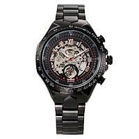 Механические мужские наручные часы скелетоны Winner  Skeleton черного цвета с автоподзаводом