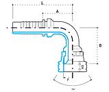 "Ниппель DKJ 7/8""-14  под шланг dу=10 мм. (угол 90 °), фото 3"