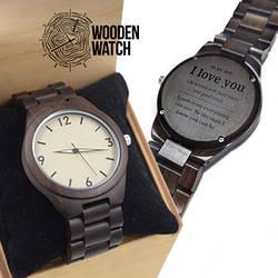 Деревянные наручные часы ручной работы WoodenWatch Numeric подарок с индивидуальной гравировкой