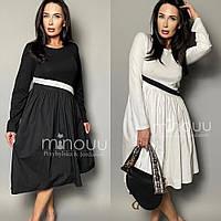 Платье женское,верх трикотаж, низ плащевка, повседневное, офисное,расклешенное, модное, молодежное, до 64 р-ра, фото 1