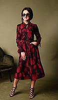 Стильное легкое женское платье с длинным рукавчиком в красный крупный принт размер 42-44,46-48,50-52