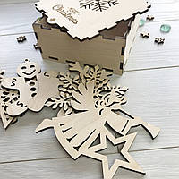 Новогодние игрушки 6 шт из дерева в коробке с индивидуальной гравировкой