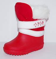 Зимние сапожки (сноубутсы, дутики) для девочки Relaxsoe красные пингвины
