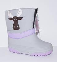 Зимние сапожки (сноубутсы, дутики) для девочки Relaxsoe олень в тумане