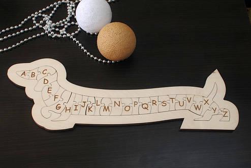 """Фигурный английский пазл-алфавит из дерева """"Умная такса"""", фото 2"""