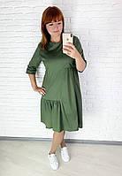 Женское стильное платье Ткань котон турецкий размеры 46-56 Цвет хаки, горчица, чёрный
