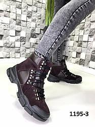 Черевики жіночі замшеві сливові на шнурках демисезон