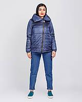 Женская куртка короткая с молнией на косую  рр 42-52