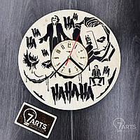 Часы настенные круглые с дизайнерским циферблатом «Джокер»