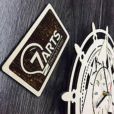 Часы «Штурвал» настенные деревянные, фото 3