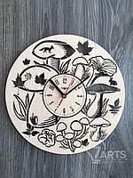 Оригинальные часы из дерева «Лесные грибы»