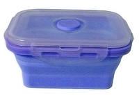 Контейнер пищевой силиконовый Stenson MH-3392 350мл, голубой, фото 1