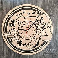 """Детские часы на стену из натурального дерева """"Том и Джерри"""""""