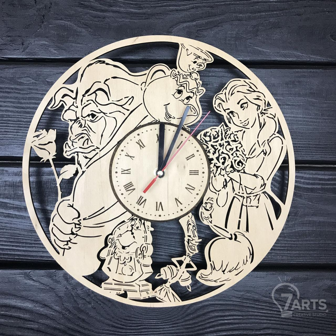 "Часы хендмейд из дерева ""Красавица и чудовище"""