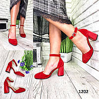 Туфли женские замшевые красные на высоком каблуке