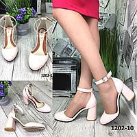 Туфли женские кожаные пудровые на высоком каблуке