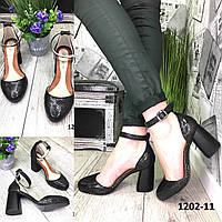 Туфли женские кожаные черные на высоком каблуке