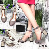 Туфли женские кожаные капучино на высоком каблуке