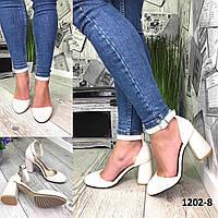 Туфли женские замшевые бежевые на высоком каблуке