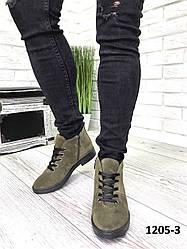 Черевики жіночі демісезонні замшеві хакі классическме на шнурках